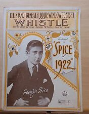I'll Stand Beneath Your Window Tonight and Whistle - 1922 sheet music, G. Price
