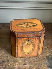 Fine 18th century neoclassical inlaid satinwood canted cube tea caddy georgian
