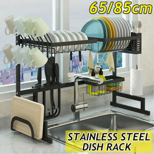 2 Tier Dish Drainer Rack Storage Drip Tray Over Sink Drying Draining Plate   #!