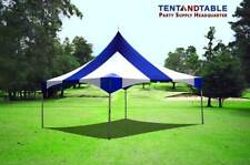 20x20 High Peak Frame Tent Top Only Commercial Blue & White Striped Canopy Top