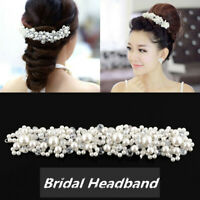 Princess Bridal Pearl Crystal Tiara Hair Band Wedding Party Prom Headband UK
