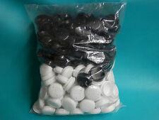 "250 Plastic 1 1/2"" Black + White Iron Patio Chair Leg Inserts Cup Glide Cap 1.5"