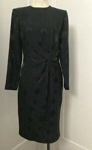 VTG Albert NIPON BOUTIQUE Black LS Sheath Dress Lined Dressy Size 8 (UK 12) EXC!