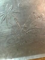 Vtg Hand Forged Everlast Metal Hammered Mexico Mexican Platter Tray MCM 16x12
