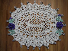 Handmade Crochet, Cottage Chic, Oval Doily With Roses, Buds, and Glass Beads