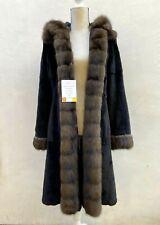 Stunning Reversible Black Sheared Mink Fur Coat Sable Fur Collar & Hood VIDEO