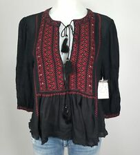 Free People Wild Life Embroidered Gauze Peasant Top Black Small