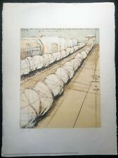 Christo Wrapped Trees - Paris, Champs Elysees - Litografia 56x76 - Hand signed