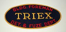 Triex Building Foreman Det. & Fuze Dept. Large Jacket Patch 1940s 50's NOS New