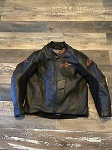 Alpinestars SP-1  Leather Motorcycle Riding Jacket Black/red Mens 46 USA  EUC