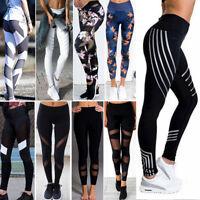 Womens High Waist Leggings Mesh Splice Yoga Sports Capri Pants Printed Trousers