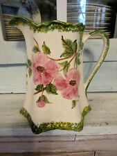 Large Cash Family Hand Painted Pitcher With Pink Flower Design