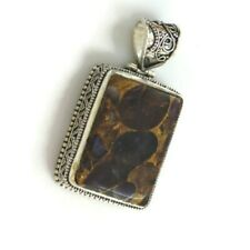 Copper Amethyst Large Gemstone Silver Overlay Handmade Vintage Style Pendant