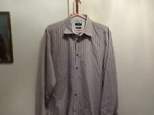 Hugo Boss mens Maroon and White Dress Shirt Size XL