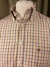 Barbour Cotton Regular Fit White Brown Red Mustard Tattersall Shirt - S 15""