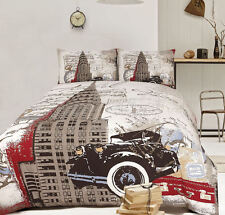 Retro Home Chrysler Building New York Printed King Bed Quilt Cover Set New