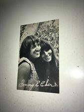 SONNY & CHER Vintage Rock & Roll Exhibit Arcade Card 1960s Bono Music Duo