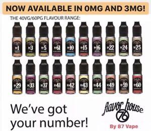 Flavour House 76 E Liquid Vape Juice 10ml | 0mg 3mg 6mg 12mg 18mg Nicotine | UK