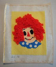 "Completed Needlepoint Canvas Raggedy Ann 8"" x 10"" Finished Pre Worked So Cute!"