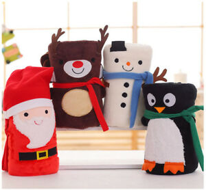 Soft Warm Santa Fleece Blanket Snowman Christmas Decor Penguin Home Kids Gifts