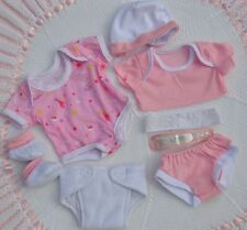 """PJs ❤️ MY FIRST BABY ANNABELL ❤️ NAPPY PANTS TOP VEST HAT FOR 14"""" BABY DOLL"""