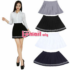 Women Girl JK Sailor Mini School Uniform Cosplay Pleated Skirt Dress Plus Size