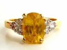 4.28ct Natural Yellow Sapphire Diamonds Ring 14kt Traditional