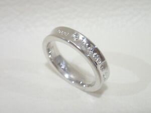 TIFFANY & CO. 18k white gold 1837 narrow band ring with 2 diamonds size 4.25