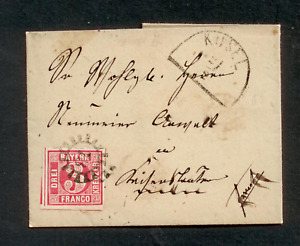 Bayern 1862, Faltbriefhülle, Mi. # 9 a,  3 Kreuzer rot+ Mühlradstempel 73 II.Ver