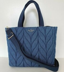 New Kate Spade New York Ellie small Tote Nylon Quilted handbag Denim
