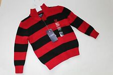 Boys Sweater Black Red Chaps by Ralph Lauren Size 5 NEW NWT 1/4 Zip