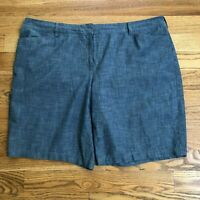 Lands' End Womens Shorts Blue Chambray Mid Rise Size 24W