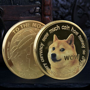 Dogecoin Doge To The Moon Commemorative Coin Gold Plated Crypto Collectible Gift