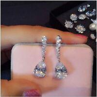 4Ct Pear Unique Cut VVS1/D Diamond Drop & Dangle Earrings 14k White Gold Finish