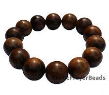 Natural 14mm Large Agarwood Oud Aloeswood Bead Bracelet w/ Elastic String Gaharu