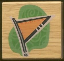 Flag Green Banner Big Golf Wind Sock New Wood Mount Craft Rubber Stamp