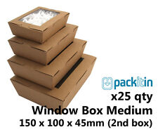 x25 MEDIUM KRAFT BROWN WINDOW LID BOXES for macarons cookies food gift packaging