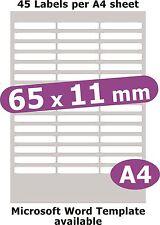 65x11mm 225 étiquettes MATT Livre blanc 5 feuilles A4 copieur laser jet d'encre autocollants