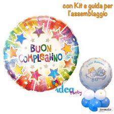 CENTROTAVOLA con PALLONCINO BUON COMPLEANNO stelle 56 cm, Addobbi Festa party