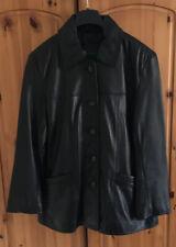Lakeland Black Leather Jacket Coat - Size 14
