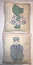 Vintage Antique Homeade Quilted Throw Pillows Boy & Girl Country Quilt Pillow