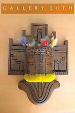 SPECTACULAR! HOPI FERTILITY MASK WALL SCULPTURE! TRIBAL ART WOOD VTG INDIAN 60'S