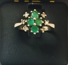 18CT WHITE GOLD EMERALD & DIAMOND CLUSTER STYLE RING
