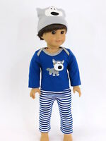 """Doggy 3pc Pajamas Fits American Boy or Girl 18"""" Doll Clothes"""
