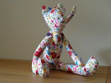 """Handmade Multicoloured Flowers Cat With Movable Limbs Approx 14"""" Tall."""
