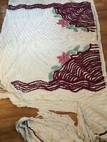 Vintage White Maroon Chenille Cutter Quilt