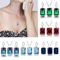 925 Silver Plated Earrings Multicolor Crystal Pendant Necklace Women Jewelry Set