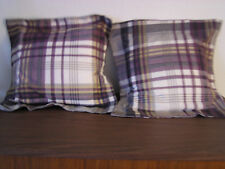 "2Decorative Pillow PurplePlaid w/White Gold Black 16.5x16.5"" RemovableCover New"