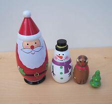 Wooden Christmas Character Russian Dolls Set 15cm