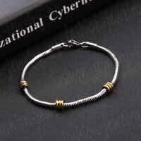 Men's Silver Punk Stainless Steel Wristband Clasp Cuff Unisex Bangle Bracelet